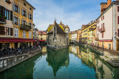 Le Palais de I`lle on the river Le thiou in Annacy. A picturesque scene in a french traditional town Royalty Free Stock Image