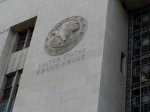 Le palais de justice des Etats-Unis emblème à Los Angeles, la Californie photographie stock libre de droits