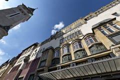 Le palais et la vieille ville Hall Tower, Targu Mures, Roumanie de culture Images stock
