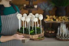 Le palle bianche del biscotto schiocca sul bastone sul vassoio di legno Fotografia Stock Libera da Diritti