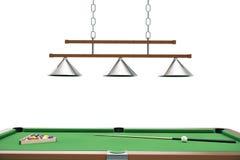 le palle da biliardo dell'illustrazione 3D sulla tavola verde con biliardo inseriscono, ostacolano, riuniscono il gioco Concetto  Fotografia Stock