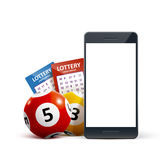 Le palle dell'icona di lotteria 3d ettichettano il telefono sul vettore bianco Immagini Stock Libere da Diritti