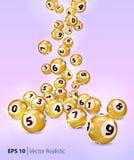 Le palle dorate di bingo di vettore cadono a caso Fotografia Stock