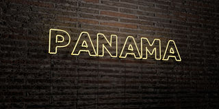 Le PANAMA - enseigne au néon réaliste sur le fond de mur de briques - image courante gratuite de redevance rendue par 3D Photo libre de droits