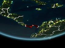 Le Panama sur terre de l'espace la nuit Photos stock