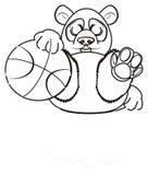 Le panda de coloration veulent jouer au basket-ball illustration stock