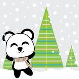 Le panda mignon est heureux sur la bande dessinée de fond de neige, la carte postale de Noël, le papier peint, et la carte de voe illustration libre de droits
