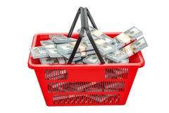 Le panier à provisions complètement du dollar emballe, le rendu 3D Photographie stock