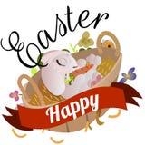 Le panier a décoré des oeufs de pâques sur l'herbe verte pour la célébration de vacances, lapins colorés Joyeuses Pâques de print Photos libres de droits