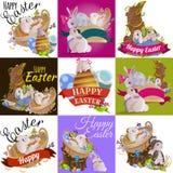 Le panier a décoré des oeufs de pâques sur l'herbe verte pour la célébration de vacances, lapins colorés Joyeuses Pâques de print Image stock