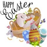 Le panier a décoré des oeufs de pâques sur l'herbe verte pour la célébration de vacances, lapins colorés Joyeuses Pâques de print Photos stock