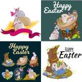 Le panier a décoré des oeufs de pâques sur l'herbe verte pour la célébration de vacances, lapins colorés Joyeuses Pâques de print Images stock