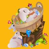 Le panier a décoré des oeufs de pâques sur l'herbe verte pour la célébration de vacances, lapins colorés Joyeuses Pâques de print Photo libre de droits