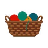 Le panier en osier avec les fils colorés dirigent le vecteur d'isolement par illustration Images stock