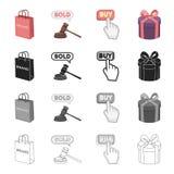 Le panier, vente a rapporté l'ensemble d'icône Images stock