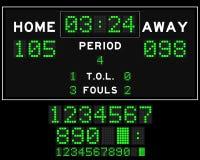 Le panneau de score de basket-ball avec la place verte a mené sur le fond noir Photographie stock