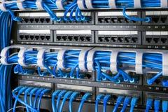 Le panneau, le commutateur et l'Internet de réseau câblent au centre de traitement des données Commutateur noir et câbles d'Ether Photos libres de droits