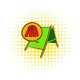 Le panneau publicitaire porté par un homme-sandwich avec l'ANNONCE marque avec des lettres l'icône, style de bandes dessinées illustration stock