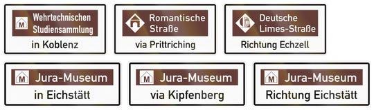 Le panneau routier allemand au sujet du musée pour des militaires étudie à Coblence illustration de vecteur