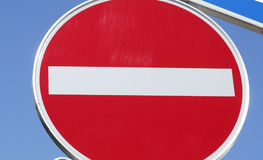 Le panneau routier aucune entrée, n'entrent pas images stock