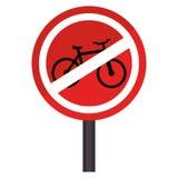 Le panneau routier circulaire de découpe a interdit l'aire de stationnement pour des bicyclettes Photos stock