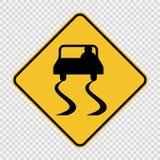 Le panneau routier glissant de symbole se connectent le fond transparent illustration stock
