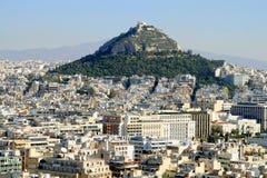 Le panorama d'Athènes, visualisent la côte Likabett Image libre de droits