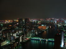 Le panorama de nuit de la ville de Tokyo avec des gratte-ciel et Tokyo aboient Photos libres de droits