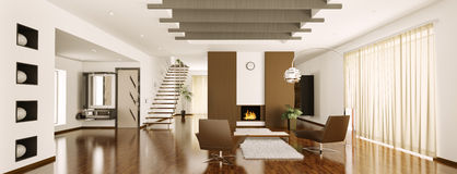 Le panorama intérieur 3d d'appartement moderne rendent Photographie stock