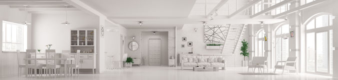 Le panorama intérieur 3d d'appartement blanc moderne de grenier rendent Photographie stock libre de droits