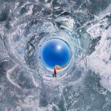 Le panorama polaire sphérique de 360 personnes à la roche sur l'IC Photos libres de droits