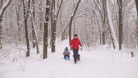 Le papa drôle porte deux enfants dans un traîneau sur une allée d'hiver banque de vidéos