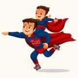 Le papa est affiche colorée plate de super héros illustration de vecteur