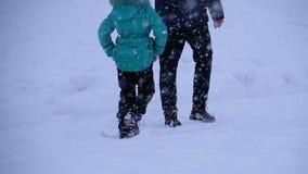 Le papa et la fille marchent dans la neige dans une forêt de pin pendant des chutes de neige Mouvement lent banque de vidéos