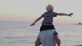 Le papa observe avec son fils au coucher du soleil banque de vidéos