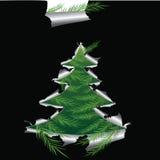 Le papier avec le trou aiment l'arbre de Noël Photo libre de droits