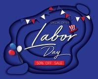 Le papier bleu de bannière de la publicité de promotion des ventes de Fête du travail a coupé le style illustration de vecteur