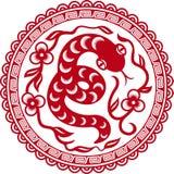 Le papier chinois a coupé le serpent comme symbole d'an Photo libre de droits