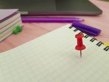 Le papier coloré de bloc-notes de punaise écrivent le rose de marqueurs de note de concepteur en bois Photos stock