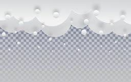 Le papier a coupé des nuages de neige dans le ciel sur le contexte transparent pour le fond de vacances de Joyeux Noël et de bonn illustration de vecteur