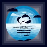 Le papier d'origami de dauphins de mer a coupé le fond bleu de bord de la mer images stock