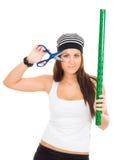 le papier de module de fixation scissors le femme Image stock