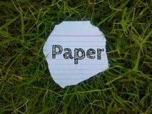 Le papier de mot écrit sur le morceau de page photo stock