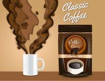 Le papier de vecteur a coupé l'affiche du café 3d, calibre de bannière illustration libre de droits