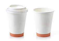 Le papier deux emportent des tasses de café Photos libres de droits