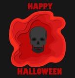 Le papier heureux d'abrégé sur Halloween 3d a coupé l'illlustration du crâne noir et la piscine du sang Calibre de vecteur découp Images stock