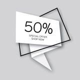 Le papier moderne a coupé la bannière géométrique de vente, offre spéciale, 50 pour cent de remise Photographie stock
