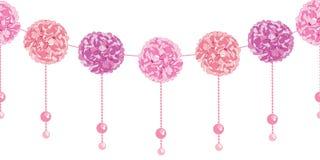 Le papier rose balançant élégant Pom Poms de fête d'anniversaire de vecteur et les perles ont placé le modèle sans couture horizo Illustration Stock