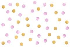 Le papier rose de confettis de scintillement d'or a coupé sur le fond blanc image stock