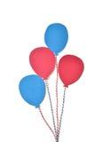 Le papier rouge et bleu de ballon a coupé sur le fond blanc Photographie stock